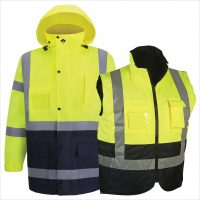 HIGH VIZ RAIN PARKA AND BODY WARMER