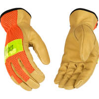 HI-VIS ORANGE MESH AND GRAIN PIGSKIN PALM GLOVE