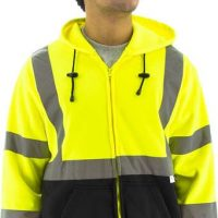 HIGH VISIBILITY HOODED ZIP SWEATSHIRT