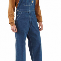 WASHED-DENIM BIB OVERALLS